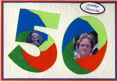 Second Iris Fold 50th Birthday Card