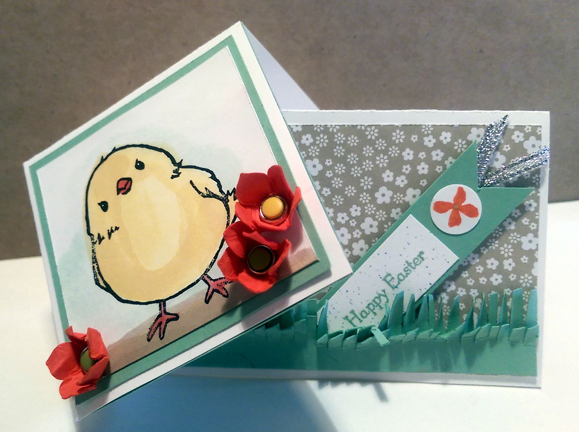 Honeycomb Happiness Easter card with baby chick.