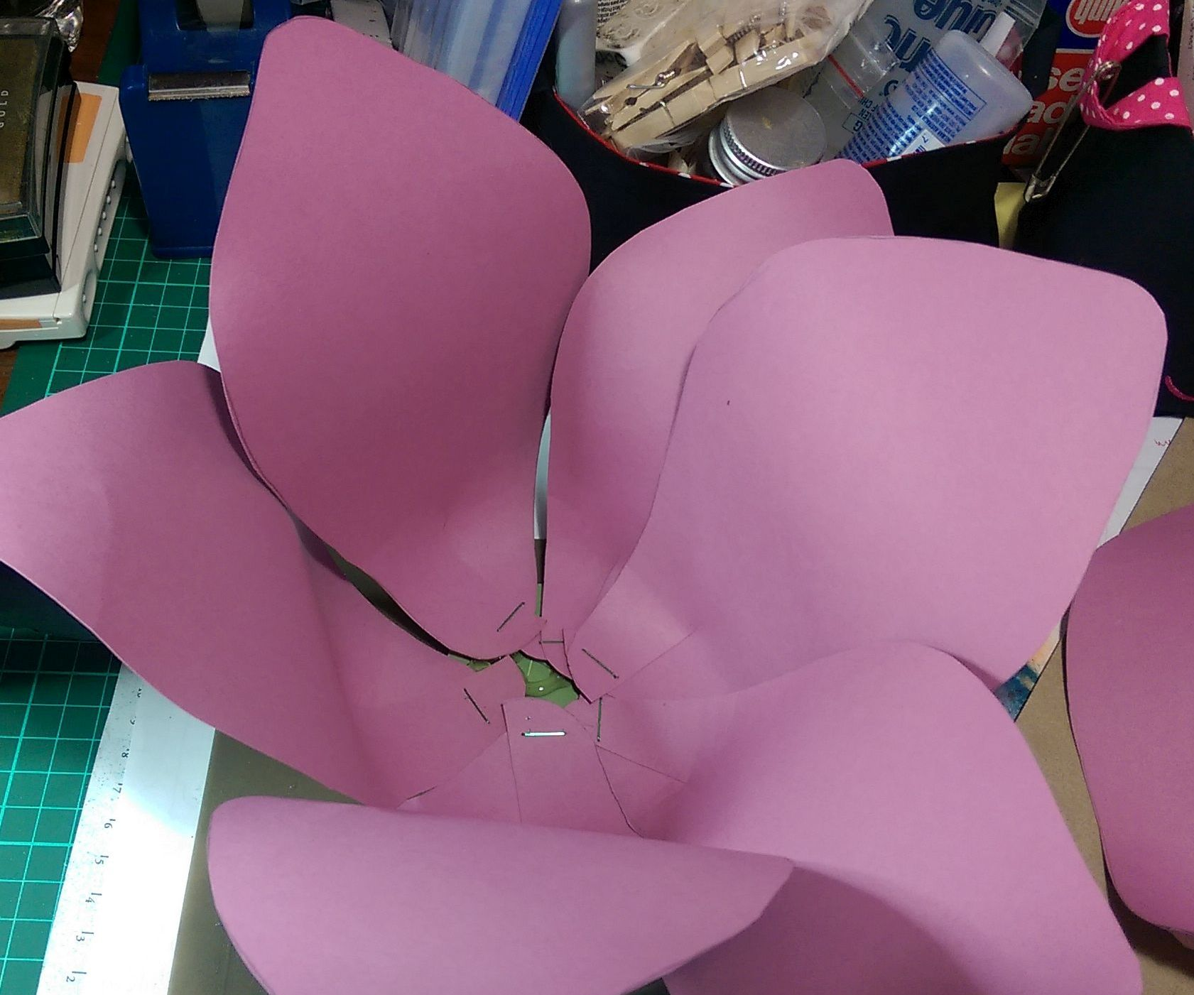 Assembly of a giant paper flower