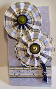 fan fold flower, rosette, greeting card, handmade, designer paper