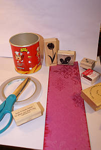 Supplies for decorating a tin