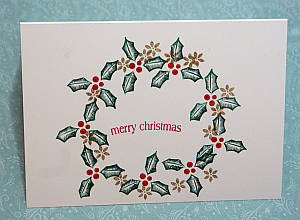 Christmas wreath card, homemade card ideas, rubber stamped cards