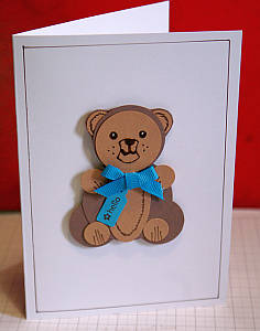 A blue and brown teddy bear