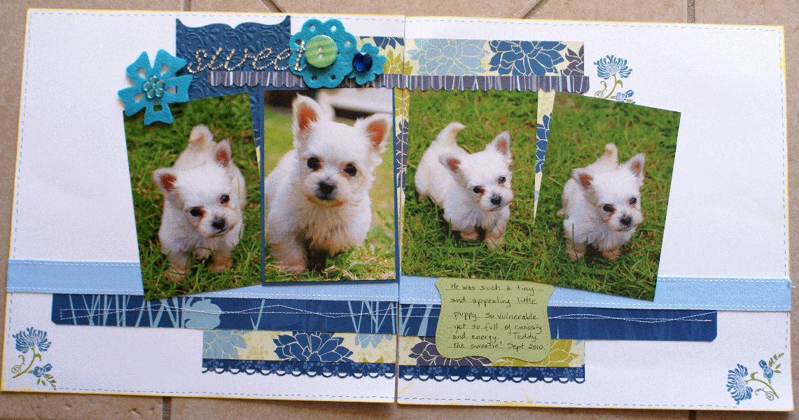 double layout, puppy, scrapbook, album