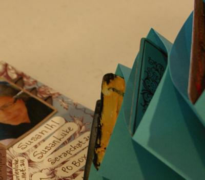 Closeup of pockets with one card peeking out
