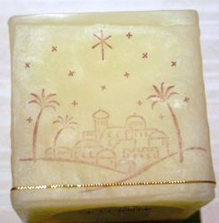 Hand stamped and decorated candle