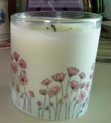 Anzac Day Candle decorated with stamped vellum