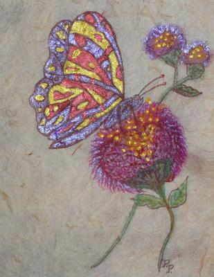 Flower and Butterfly card front