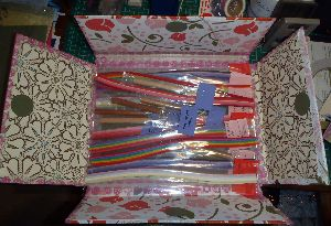 Altered packing box for quilling supplies
