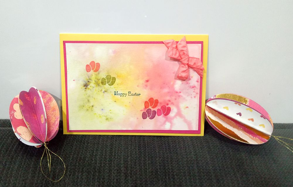 Easter card with paper eggs
