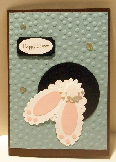 A paper punch Easter bunny handmade greeting card.
