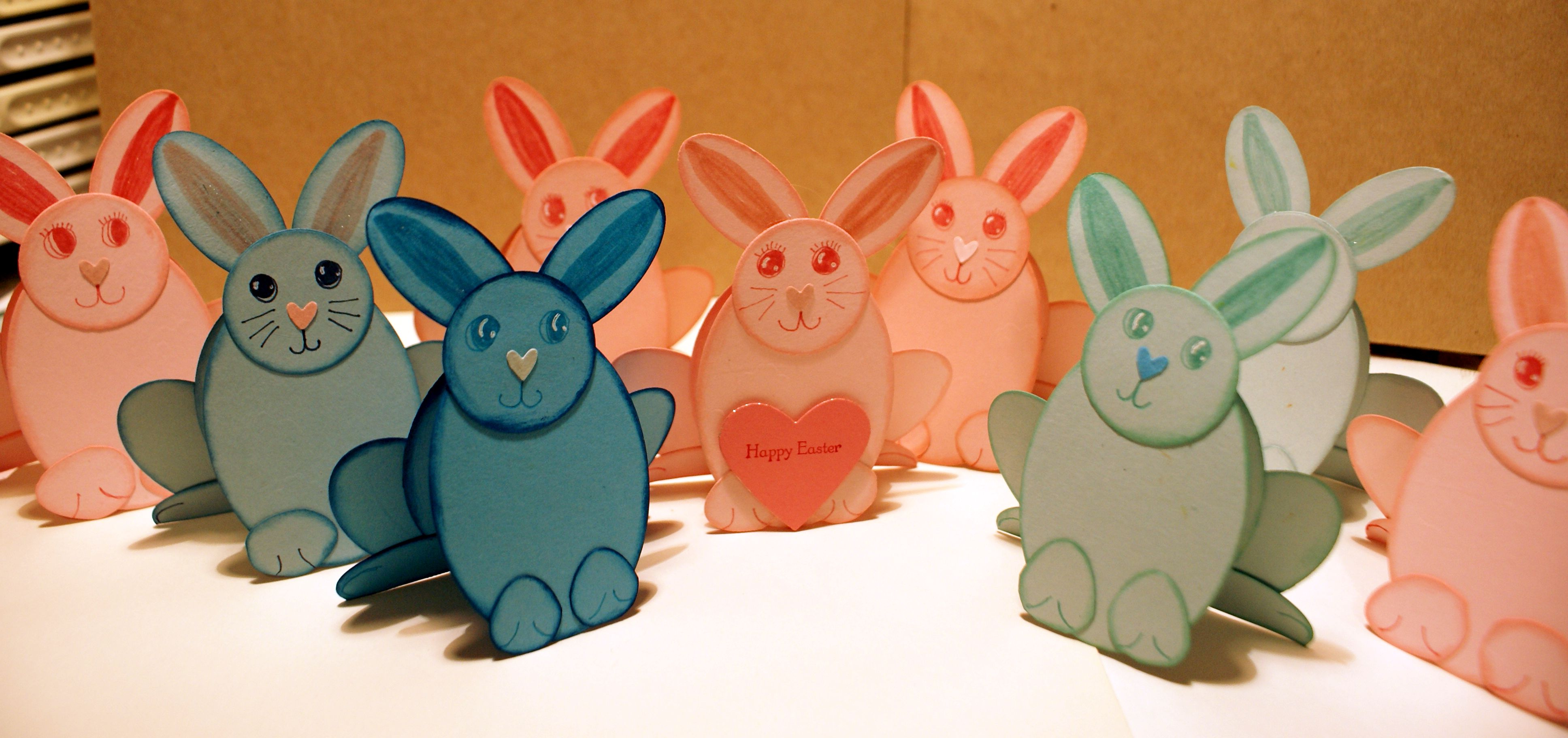 Punch art paper bunnies in different colours.
