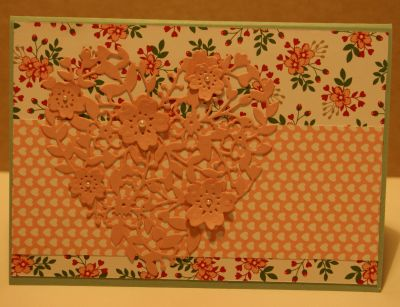 Bloomin' Heart Thinlit Dies and Love Blossoms Designer Series Paper Stack nake an Easter card