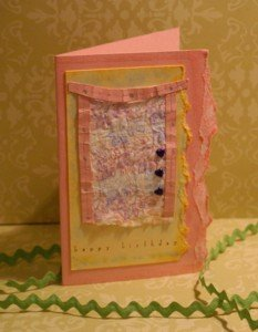 faux silk technique, papercraft, handmade greeting card