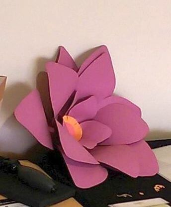 Side view of giant paper flower