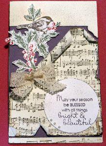 A Christmas card using handmade music background