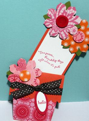 Card flower pot showing the note card