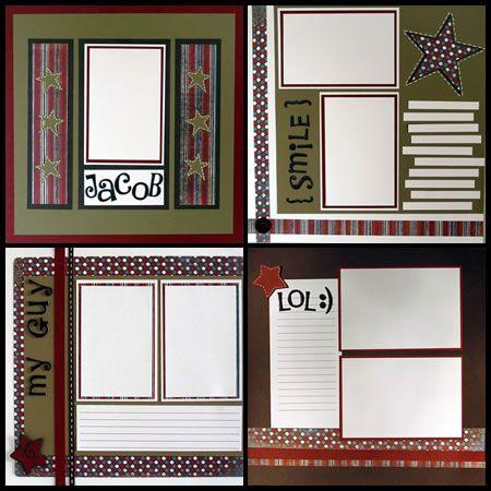 simple scrapbook layouts, die cut, album, scrapbooking