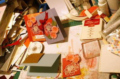 My work desk during card construction!